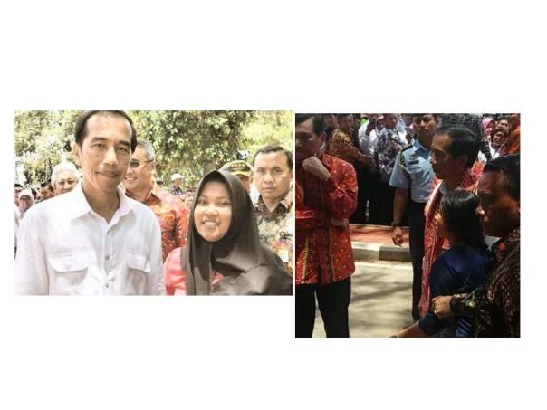 Wika (Relawan Taajam) dan Ranti (YP) berfoto bersama bapak Presiden Republik Indonesia, Joko Widodo di Sukadana dalam acara Sail Karimata 2016