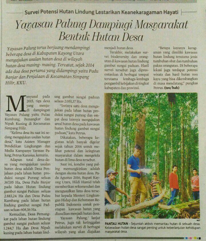 Yayasan Palung Dampingi Masyarakat Bentuk Hutan Desa. Foto berita yang dimuat di Suara Pemred. dok. Yayasan Palung.jpg