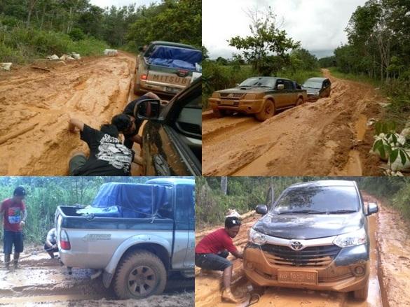 Salah satu jalur jalan yang cukup parah rusaknya dari Cali menuju Pangkalan Jihing. Foto dok. Yayasan Palung