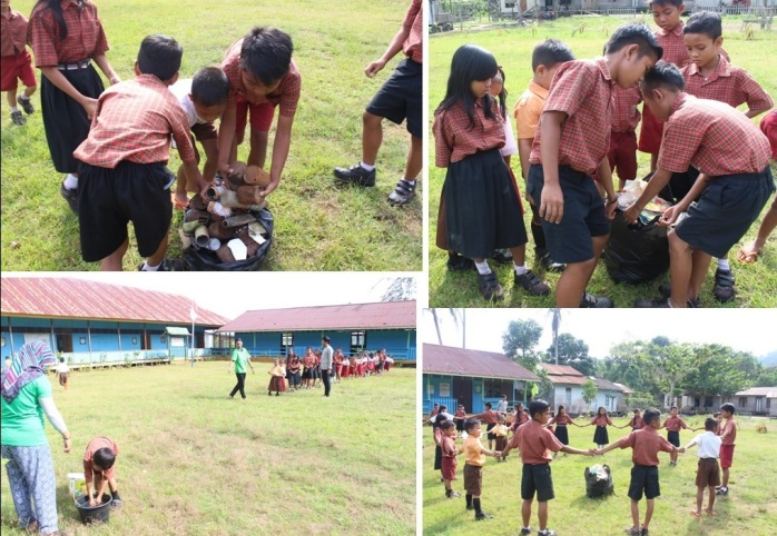 Mengajak Anak Usia Dini Memilah Sampah yang mudah hancur dan tidak mudah hancur. Foto dok. Yayasan Palung