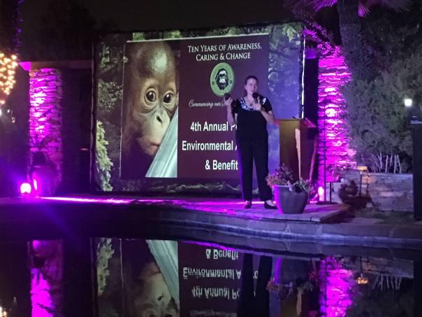 Cheryl Knott saat menyampaikan kata sambutan ketika menerima penghargaan lingkungan Pongo Award 2017. Foto dok. Yayasan Palung.jpg